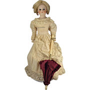 Miniature French Fashion Parasol with Original Burgundy Cloth