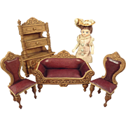 Exquisite and Rare Doll House Sofa, Chairs and Etagere in Half Scale