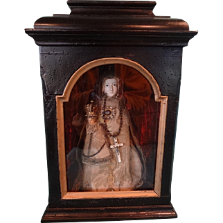 Antique Madonna and the Child Jesus in Enclolsed Showcase