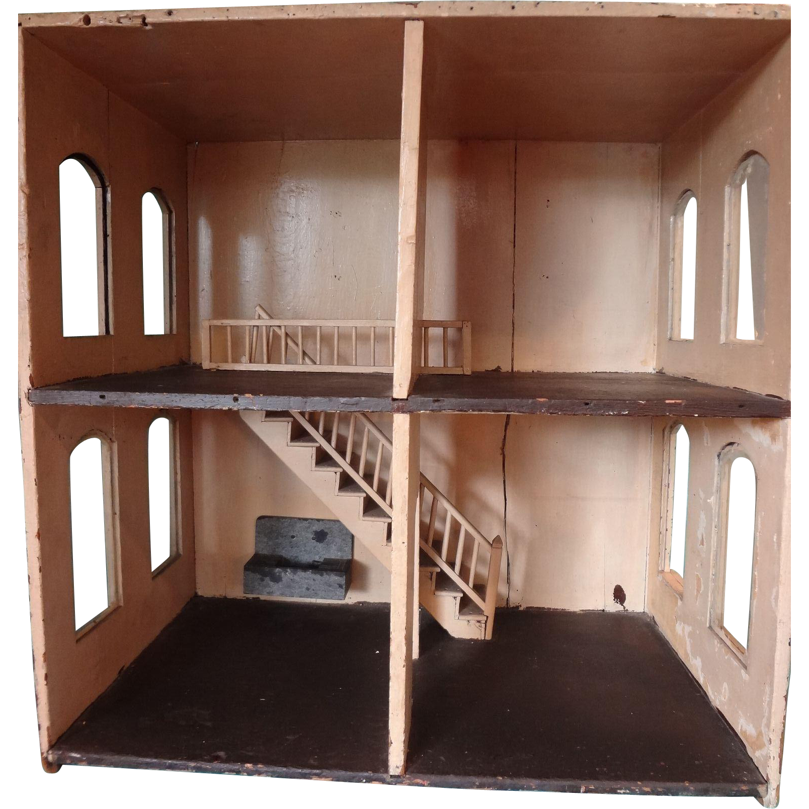 Antique Four Room Doll House With Interior Stairs And Arched Windows