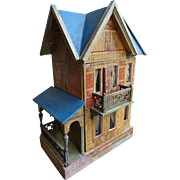 Charming Blue Roof Gottschalk Doll House with Front Balcony and Side Porch