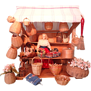 Delightful German Basket Shop Loaded with Doll and Accessories