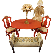 Chinese Red Table Chairs and Bench in Doll House Scale