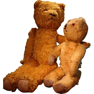 Cuddly Teddy Bear with Shoe Button Eyes and Growler