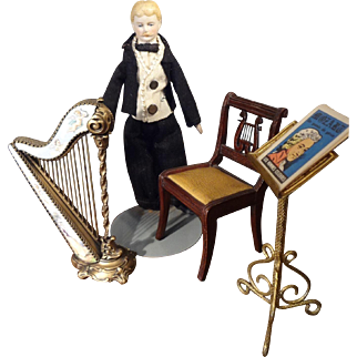 """Doll House Man wtih Mustache in large doll house scale 7"""""""