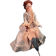 French Fashion Petite Parasol with Fringe and Carved Handle