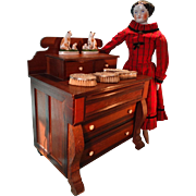 Outstanding Miniature Doll's Empire Three Drawer Chest