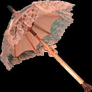 Beautiful Jumeau Parasol for French Fashion with Dog Head Handle
