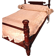 Wonderful Antique Doll Bed with Linens
