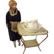 "Petite Doll House Maid with Original Costume and Fancy Hair 5 1/2"" tall"