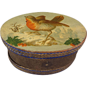 Wonderful Oval Box with Holiday Lithography of Robin