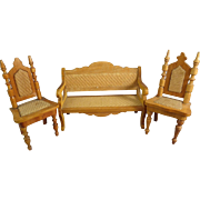 Doll House Wood Settee and Chairs with Woven Seats