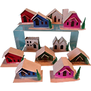 Set of Twelve Christmas Houses in Original Box with Electric Cord