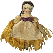 Tiny Grodnertal Doll with Original Silk Dress and Scarf