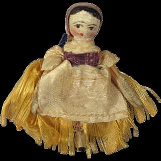 Tiny Grodnertal Doll with Original Silk Dress and Scarf