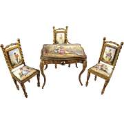 Austrian Enamel and Gilt Bronze Table and Chairs Parlor Set