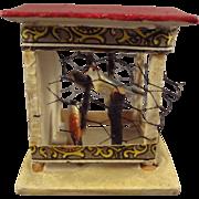 German Wooden Birdcage with Three Birds Miniature