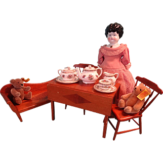 Doll's Table, Chairs and Bench Hand Crafted
