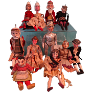 Group of Thirteen Antique German Puppets for Early Theatre