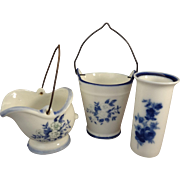 Three Pieces of Blue on White Porcelain Delft Style