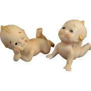 Pair of All Bisque Googly Style Piano Babies