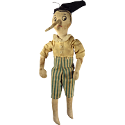 Early Cloth Pinocchio Doll with Embroidery