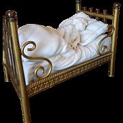 Outstanding Bisque Sleeping Child in Ormolu Bed