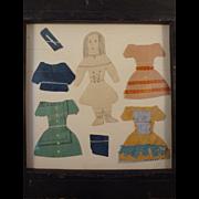 Early Folk Art Paper Doll Dress Cutouts