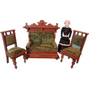 German Oak Sofa and Chairs with Velvet Upholstery for Doll House