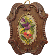 Miniature Walnut Stained Framed Doll House Embroidered Hanging Floral Bouquet