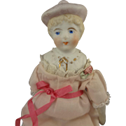 Bisque Bonnet Head with Molded Shoulder Plate Doll House Doll