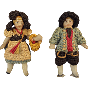 Pair All Bisque Carl Horn Dolls in Matching Costumes