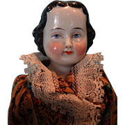 Flat Top China Doll with Center Part from Germany