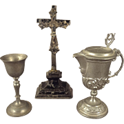 Group of Religious Items for Altar Cruet Chalice and Crucifix