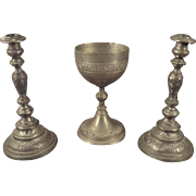 Miniature Chalice Wine Cup and Candlesticks for Relidigious Display