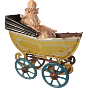 Wonderful Tin Doll Stroller with Great Lithography in Doll House Scale