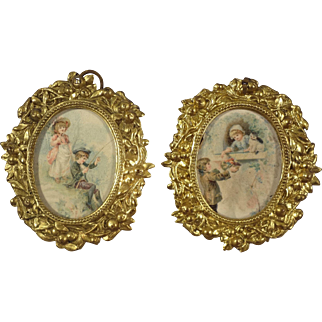 Pair of Adorable Ormolu Pictures of Children Playing Fishing Cat
