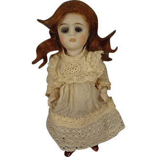"""5"""" All Bisque Doll with Glass Eyes Mohair Wig Articulated Limbs"""