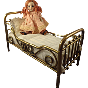 """Lovely 4"""" All Bisque Doll with Glass Eyes and Pink Textured Socks"""