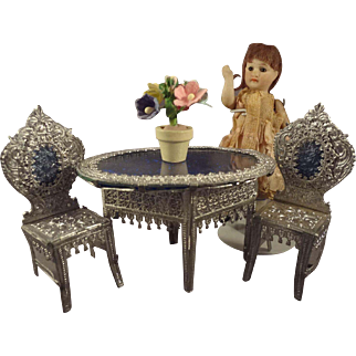 Soft Metal Filigree Table and Chairs