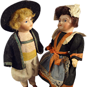 "Pair of 5"" Bisque Girl and Boy in Great Original Costumes"
