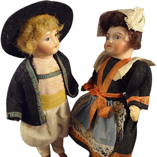 """Pair of 5"""" Bisque Girl and Boy in Great Original Costumes"""