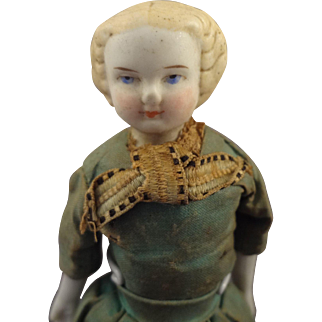Parian Bisque Doll with Blonde Molded Fancy Hair and Original Dress
