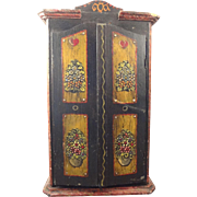 Early Painted Decorated Tole Wooden Linen Cupboard with Contents