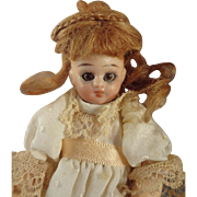 "5"" Bisque Doll with Swivel Head and Brown Glass Eyes"