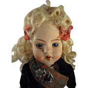 "8"" Bisque Doll with Glass Sleep Eyes Blonde Wig and Scottish Costume"