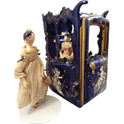 SALE Outstanding Miniature Blue Enamel Sedan Chair with Putti