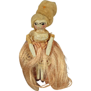 Tiny Peg Wooden Dressed in Silk and with Wig