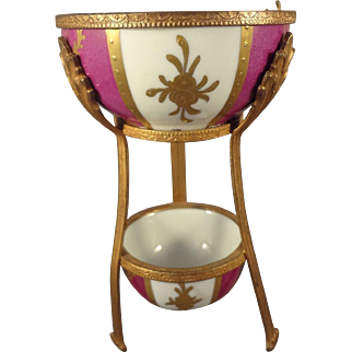 Lovely Limoge Porcelain and Dore Bronze Double Bowl Display