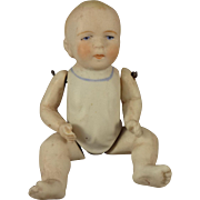 "5"" All Bisque Baby with Jointed Limbs and Molded Shirt"